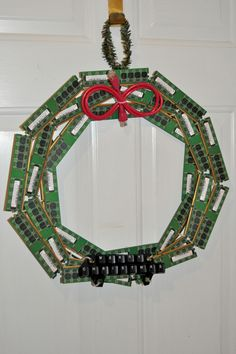 Christmas wreath made from upcycled computer parts