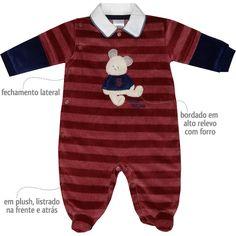 Macacão em Plush Listrado para Bebê Menino Vinho - Sonho Mágico :: 764 Kids | Roupa bebê e infantil