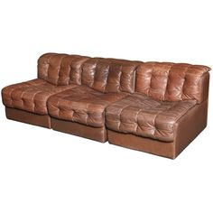 3-Seater Tufted Leather Sofa by de Sede c1970's Switzerland