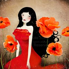 """""""Orange Poppies"""" – """"Coquelicots Orange"""" - Deluxe Edition Print, $25.00 ~ by Anne-Julie Aubry ~ on Etsy in her shop: TheNebulousKingdom   The Art of Anne-Julie Aubry"""
