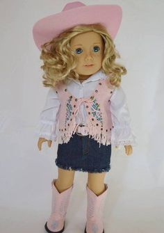 Pink Western Cowgirl Outfit For 18 Inch American Girl Dolls