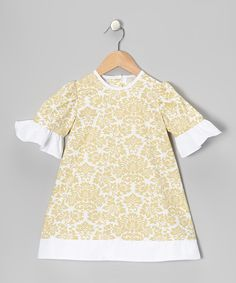 Look at this #zulilyfind! Khaki Damask Ruffle A-Line Dress - Infant & Girls by Stellybelly #zulilyfinds