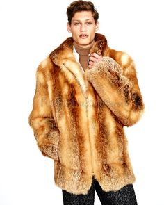 Mid Length Red Fox Fur Coat for Men: FurHatWorld.com