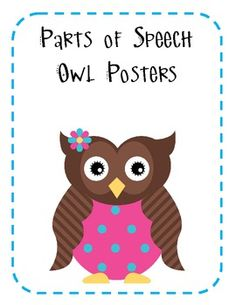 parts of speech posters...owl theme
