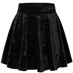 Urban CoCo Women's Vintage Velvet Stretchy Mini Flared Skater Skirt (36 BRL) ❤ liked on Polyvore featuring skirts, mini skirts, saia, vintage skirts, flared skirt, stretch skirts, circle skirts and vintage circle skirt