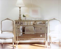 mirrored furniture & antique chairs