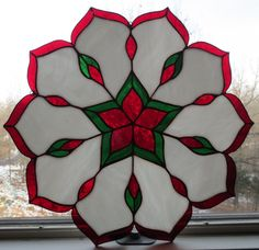 Christmas Candy Cane Kaleidoscope Stained Glass Window | eBay - quite pretty