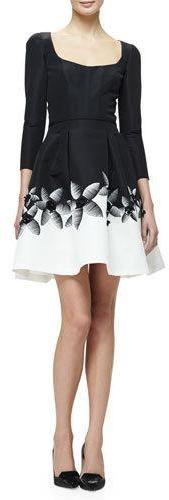 Carolina Herrera 3/4-Sleeve Fit & Flare Cocktail Dress, Black/White. $4,990$1,247