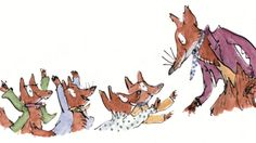 Roald Dahl's Fantastic Mr Fox, illustrated by Quentin Blake Lesson Plans Fuchs Illustration, Children's Book Illustration, Character Illustration, Fantastic Mr Fox Characters, Fantastic Fox, Roald Dahl Characters, Quentin Blake Illustrations, Roald Dahl Day, Fox Party