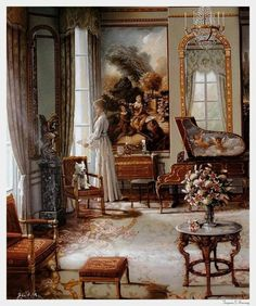 John P. O'Brien ~ Victorian Interior-Lady in White Dress