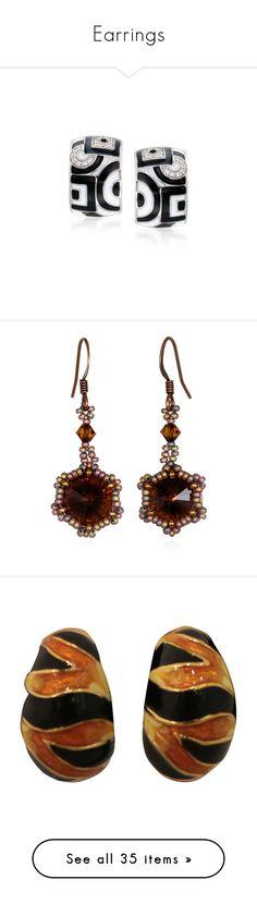 """""""Earrings"""" by kitkat12287 ❤ liked on Polyvore featuring jewelry, earrings, black, cubic zirconia earrings, enamel jewelry, white earrings, polish jewelry, cubic zirconia hoop earrings, accessories and beaded dangle earrings"""