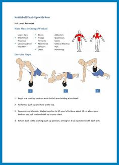 kettlebell push up with row for advanced kettlebell users