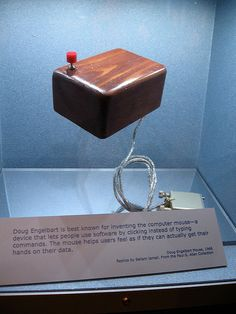 First computer mouse | Flickr - Photo Sharing! Doug Engelbart invented the first computer mouse in 1968, but there was a lot of keyboard typing that still needed to be done. No moving the cursor by moving the mouse.