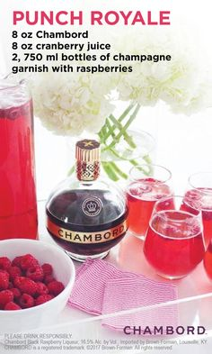Create a delicious and flavorful combination by mixing together cranberry juice, champagne and Chambord. Party Drinks, Cocktail Drinks, Fun Drinks, Yummy Drinks, Cocktail Recipes, Alcoholic Drinks, Beverages, Drinks Alcohol, Royal Punch