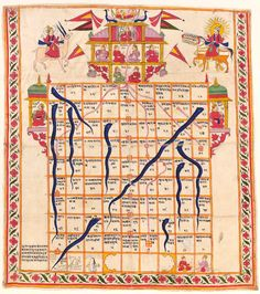 The Gyan Chauper is the ancient snake and ladder board game. The Jain Gyan Chaupers are standardized with 84 numbered squares in a 9x9 pattern. The board game is in the human shape-the universal being. The top most part of the board is the heavenly abode or the Moksha dwar akin to the head of the cosmic being. Each player starts from the bottom Narak Dwar and takes turns to roll dice and moves forward according to the number generated, towards Swarg  & ultimately reaching their goal.