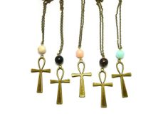 Ankh Necklace  Gemstone  Coral  Jade  Turquoise  Tiger by Mimok, $48.00