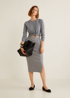 Mango Cable Knit Skirt - Light Heather Grey S Knit Skirt, Lace Skirt, Midi Skirt, Moda Mango, Autumn Fashion 2018, Mango Fashion, Gray Skirt, Cable Knit, Skirt Patterns