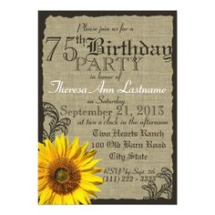 "Western Sunflower Rustic 75th Birthday 5"" X 7"" Invitation Card"
