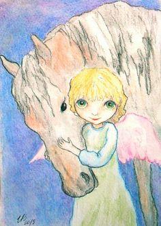 Angel & Horse Watercolor Print Angel guardian Art by Mirabilitas