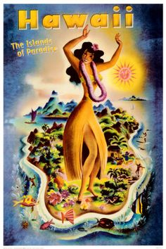 Vintage travel poster Hawaii