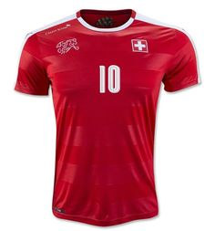a3d94a44533 Switzerland National Team 2016 XHAKA  10 Home Soccer Jersey Soccer  Uniforms