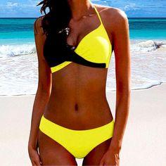 Women's Summer Beach Bikini Swimsuit | Color: Yellow | TokiTop Bikini Push Up, Sexy Bikini, Bikini Halter, Bikini Triangle, Bikini Swimwear, Halter Neck, Women Bikini, Black Bikini, Bikini Top