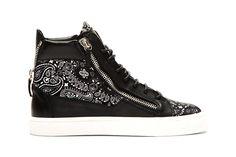 Giuseppe Zanotti Black Paisley High-Top Sneakers