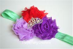 Little Mermaid Ariel Disney Princess Inspired Headband - Triple Shabby Chic Flower with Tiara Crown by Purple Fairy Creations