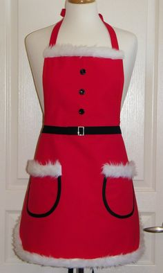 Cute Mrs. Santa Apron Christmas Apron Red Apron by SewElated