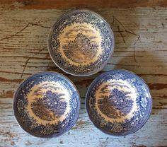 Three Vintage English Village Fruit/Dessert Bowls by by CottageBlu