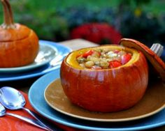 Soup out Stew in a small pumpkin