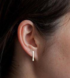 Short Bar Gold Earrings