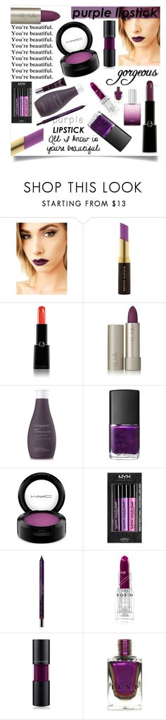 """""""Beauty Trend We Love: Purple Lipstick"""" by basmahahmed ❤ liked on Polyvore featuring beauty, Lime Crime, Kevyn Aucoin, Giorgio Armani, Ilia, Living Proof, NARS Cosmetics, MAC Cosmetics, NYX and By Terry"""
