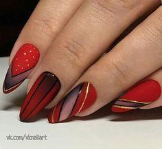 nails red and black ~ nails red ; nails red and black ; nails red and white ; nails red and gold ; Almond Nails Designs, Red Nail Designs, Best Nail Art Designs, Red Nail Art, Red Nails, Red Acrylic Nails, Beauty Nail, Modern Nails, Super Nails