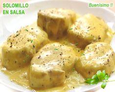 solomillo de cerdo en salsa de queso Chicken Salad Recipes, Steak Recipes, Cooking Recipes, Healthy Recipes, Meat Steak, Catering Food, Latin Food, Appetizer Recipes, Food And Drink