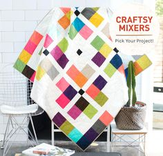 Boundless Solids Modern Brights Fabric and Craftsy Mixers Pattern Quilt Kits…