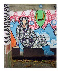 "On the Sidewalks of Montevideo - Graffiti Photo ""Blue Boots"" Street Art"