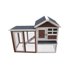 Wooden Rabbit Hutch Bunny Animal House Cage Pet Coop Habitat Red White Backyard