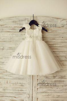 Taffeta Tulle TUTU Flower Girl Dress/Beading Sash by misdress