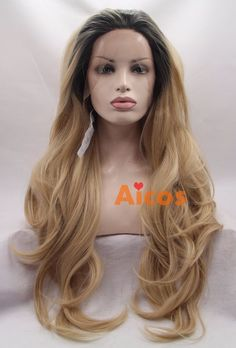 Golden Blonde Lace Front Wig Ombre Long Wavy Heat Resistant Synthetic Hair Wigs #Aicos #SpiralCurls