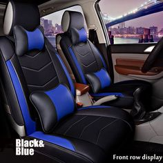 Hard Wearing Nylon Front Pair Of Blue Strong Car Seat Cover Protector