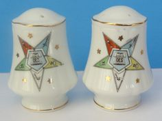 salt pepper shakers Vintage Eastern Star china by VintageBettyLuke, $9.95
