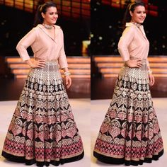In A Lehenga And Shirt, Kajol Shows Us How To Ace Fusion Style Women's fashion dresses, Indian sari dress, Indian. Indian Gowns Dresses, Indian Fashion Dresses, Indian Designer Outfits, Skirt Fashion, Fashion Outfits, Long Dress Design, Stylish Dress Designs, Lehenga Designs, Choli Dress