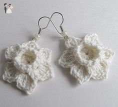 Crochet White Daffodil Earrings / Cotton Thread Jonquils / Mother's Day Gift Jewelry / Wedding Bridal Floral Jewellery / Narcissus Spring Easter Earrings - Wedding earings (*Amazon Partner-Link)