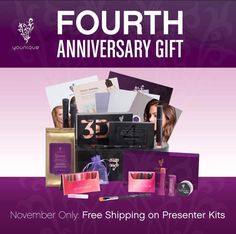It is Younique's 4th Anniversary! As a gift to you, we are offering FREE postage on our Presenter kit! Join my team now! Kitnapper, casual purchaser for yourself and family, or go getter to build your business!  www.youniqueproducts.com/carolhuskie