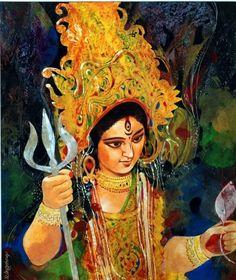 'Durga' - Anup Roy - Water Colour - x Goddess Art, Durga Goddess, Indian Goddess, Durga Maa, India Painting, Ganesha Painting, Durga Puja Kolkata, Mother Kali, Poster Drawing