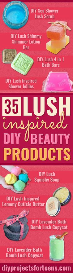 DIY Lush Inspired Recipes - How to Make Lush Products like Bath Bombs, Face Masks, Lip Scrub, Bubble Bars, Dry Shampoo and Hair Conditi. Diy Beauté, Diy Spa, Diy Lush, Make Up Cosmetics, Lush Cosmetics, Diy Savon, Do It Yourself Baby, Diy Lotion, Lotion Bars