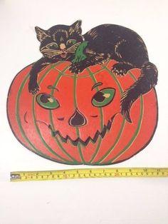 Vintage Halloween Black Cat & Pumpkin JOL Jack O Lantern Embossed Diecut