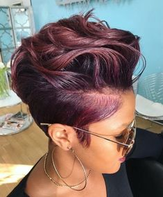 2018 Winter Hair Color Ideas for Black Women. Bold and Vibrant hair color shades for the winter 2018 season. This winter it's time to break free from mundane hair shades of black and brown an… color ideas for black women Hair Color Shades, Hair Color Purple, Short Hair Colors, Short Burgundy Hair, Plum Purple, Burgundy Color, Curly Hair Styles, Natural Hair Styles, Short Hair Styles Shaved
