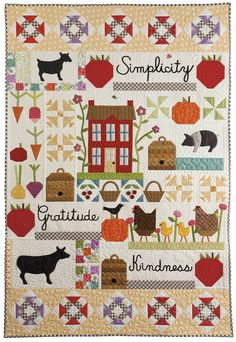 My farm quilt blocks? Simple Life quilt, in: 'Farm-Fresh Quilts: Simple Projects Inspired by the Simple Life' by Kim Gaddy. Patch Quilt, Applique Quilts, Quilt Blocks, Primitive Quilts, Sampler Quilts, Star Quilts, Mini Quilts, Quilt Baby, Quilting Projects